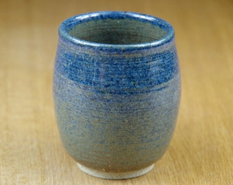 Handmade Handless Mug, Blue Pottery Cup, Coffee Cup, Handmade Stoneware Teacup, Ceramic Tumbler