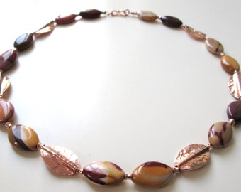 """Necklace """"Mookait Rock"""" / gemstone necklace/Mokait/hill tribe silver 24 k rose gold/navettenform/elegant/gift for you/festive/copper color"""