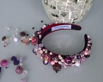 Floral headband/ beaded headpiece/ flower headband/ purple crown/ photo props/ photography/ beaded hair accessories/ pink beaded hairband