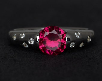 ruby ring red ruby engagement ring silver round cut gemstone rings promise ring July birthstone ring