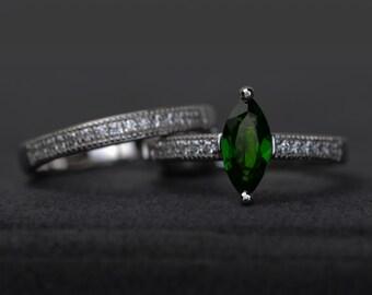 chrome diopside ring set silver gemstone ring engagement rings marquise cut wedding rings stacking ring set