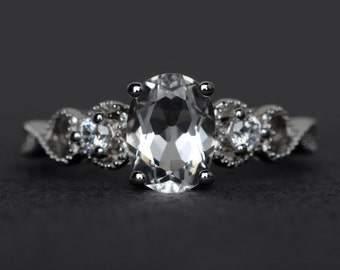 white topaz ring sterling silver engagement ring gemstone ring oval cut natural white topaz