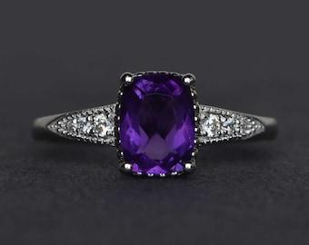 natural amethyst ring purple amethyst engagement ring cushion cut gemstone ring silver