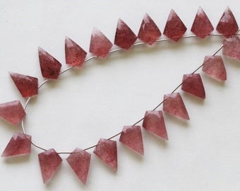 25 piece faceted STRAWBERRY QUARTZ fancy shape briolette beads 11 x 14 -- 12 x 18 mm approx