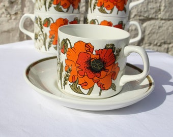 Set of Six Cups and Saucers by J&G Meakin in Fabulous Poppy Design