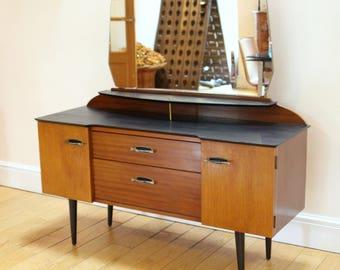 Unique Mid Century Lebus Dressing Table Refinished in Black & Teak