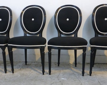 Set of Four Hollywood Glam Dining Chairs Black with White Hollywood Regency High Style Neotraditional Neoclassical