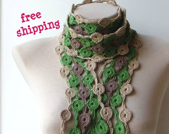 Cotton scarf, Green scarf, Crochet scarf, Scarf for women, Coffee scarf, 100% Cotton, Multicolor scarf, Beige scarf, Soft scarf, Knit scarf.