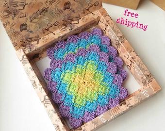 Crochet coasters, Custom coasters, Square coasters, Coaster set, Cup coaster, Drink coasters, Kitchen decor, Coffee coaster, Cotton coasters