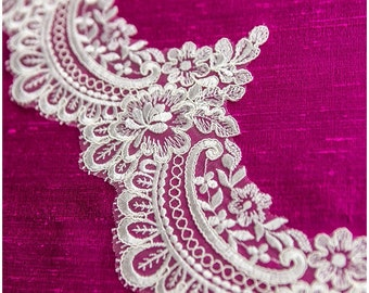 CORDED elegant lace Trim, IVORY , Alencon Lace Trim, Bridal Lace, Chantilly Lace, Embroidery, Ornament Lace trim, (TRFN-86501)