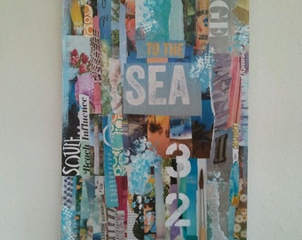Original Mixed Media On Wood, Voyage To The Sea, Wall Decor, Contemporary Art, Modern Art