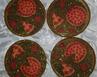 Glitter Resin Coasters Pizza // Sparkle Bling Custom// Unique Gift Home Decor Accent// Set of Four// Pepperoni Pizza Slice