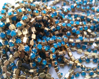 12 SS Rhinestone Chain Swarovski Caribbean Blue Opal 3mm