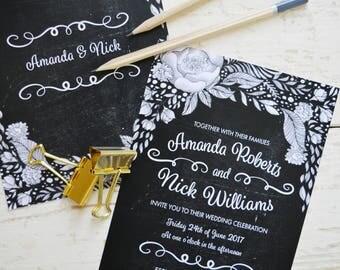 Chalkboard wedding invitation boho, floral wedding invitation set, floral wedding invites rustic, black and white wedding invitations UK, A5