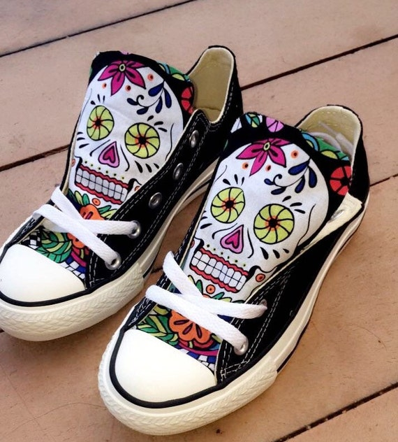 Custom Made Sugar Skull Converse shoes by StuddedHeartsShop