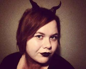 Devil horns, cosplay horns, costume horns, black and red horns, demon horns, goth horns, handmade horns, horn headband
