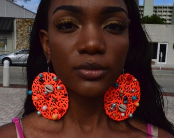 The Orange Coral earrings