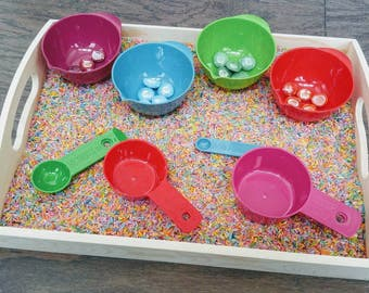 Rainbow Spooning & Scooping Sensory Tray, Kids Gift, Montessori Classeoom, Reggio Emilia, Waldorf, Teacher Resources