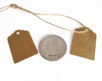 Small Gift Tags, Blank Tags, Kraft Paper, Mini Price Tags, Favor Tags, Wedding, Shower, Presents, Plain, 1 Inch, 1""