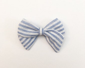 Blue Striped Bow - Sailor Bow - Baby Bows - Baby Hair Clips - Baby Headbands - Toddler Headband - Baby Hair Bows - Hair Bows