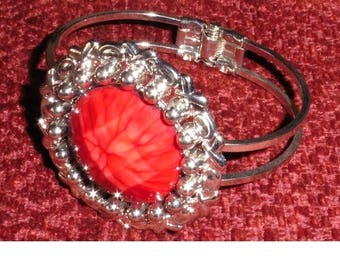 Vintage Silver Plated Bangle with large red stone