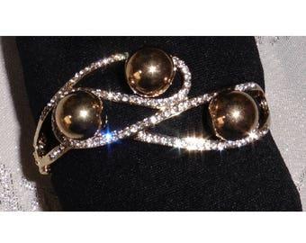 Bangle Bracelet Gold Plated Rhinestones