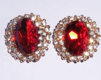 Ruby Red Stone and Rhinestone clip on earrings