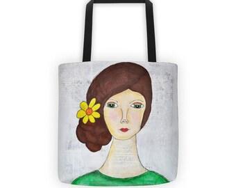 Girl Tote, Girl Bag, Sunflower Girl Tote