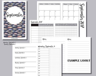 B6 Size: MONDAY Start - September 2017 Month/Weekly/Daily TIMED Travelers Notebook Insert