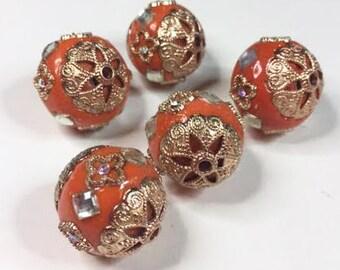 5 TANGERINE & GOLD INDONESIA Beads