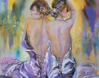 30% OFF- Original oil women painting,figurative oil painting,woman big square painting,woman back painting,two women paitning,women art