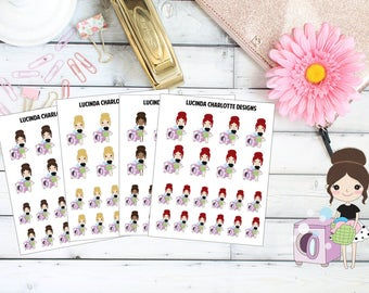 Laundry Girl Character Cleaning Clothes Washing up - Planner Stickers