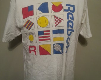 Vintage 80's Reebok Us Open 1987 Official Sponsor Graphic T Shirt Size XL Made In USA Tennis