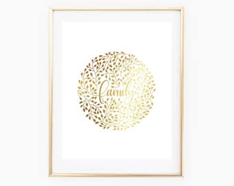 REAL GOLD FOIL Family Vines // 8x10