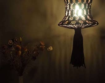 Boho / Unusual Lampshade in Dark Purple Colour With Pendant Made By The Knotted Touch