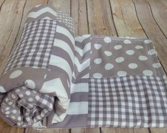 Grey Baby Blanket, Minky Blanket, Nursery Decor, grey, gray, nautical, Chevron, Nursery Decor