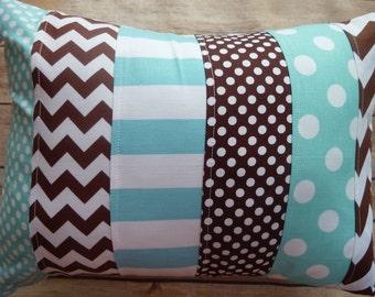 Aqua and Brown Pillow, Striped Pillow, Nursery Decor, Brown, aqua, robbins egg blue, nautical, Chevron, Nursery Decor