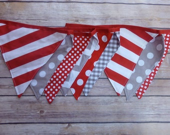 Red and Grey Banner, Birthday Party Decoration, Bunting, Fabric Banner, Flags, Photography Prop, Garland , Chevron, Dots