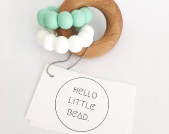 DUO Teether - Mint and White Teether - Silicone and Beech Teething Ring - Silicone Teether - Baby Teether - Wooden Teether