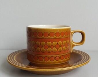 Hornsea 'Saffron' teacup and saucer set - 1970s Hornsea Pottery