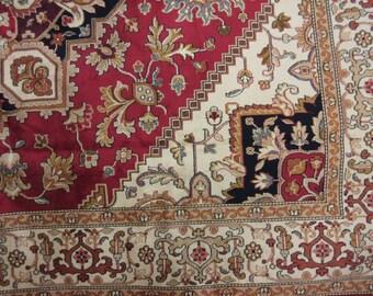Machine made Heriz pattern carpet / rug  on red ground, 2.3m x 1.6m good condition 1998
