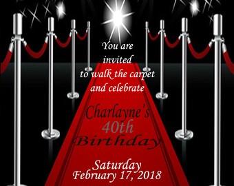 Red Carpet 40th Female or Male Birthday Invitation, Invite