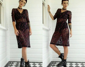 Rose thorns mesh sheer 90s grunge goth midi body con dress Black floral