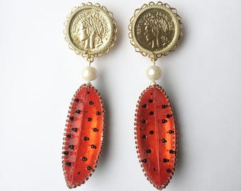 Watermelon on the dish earrings