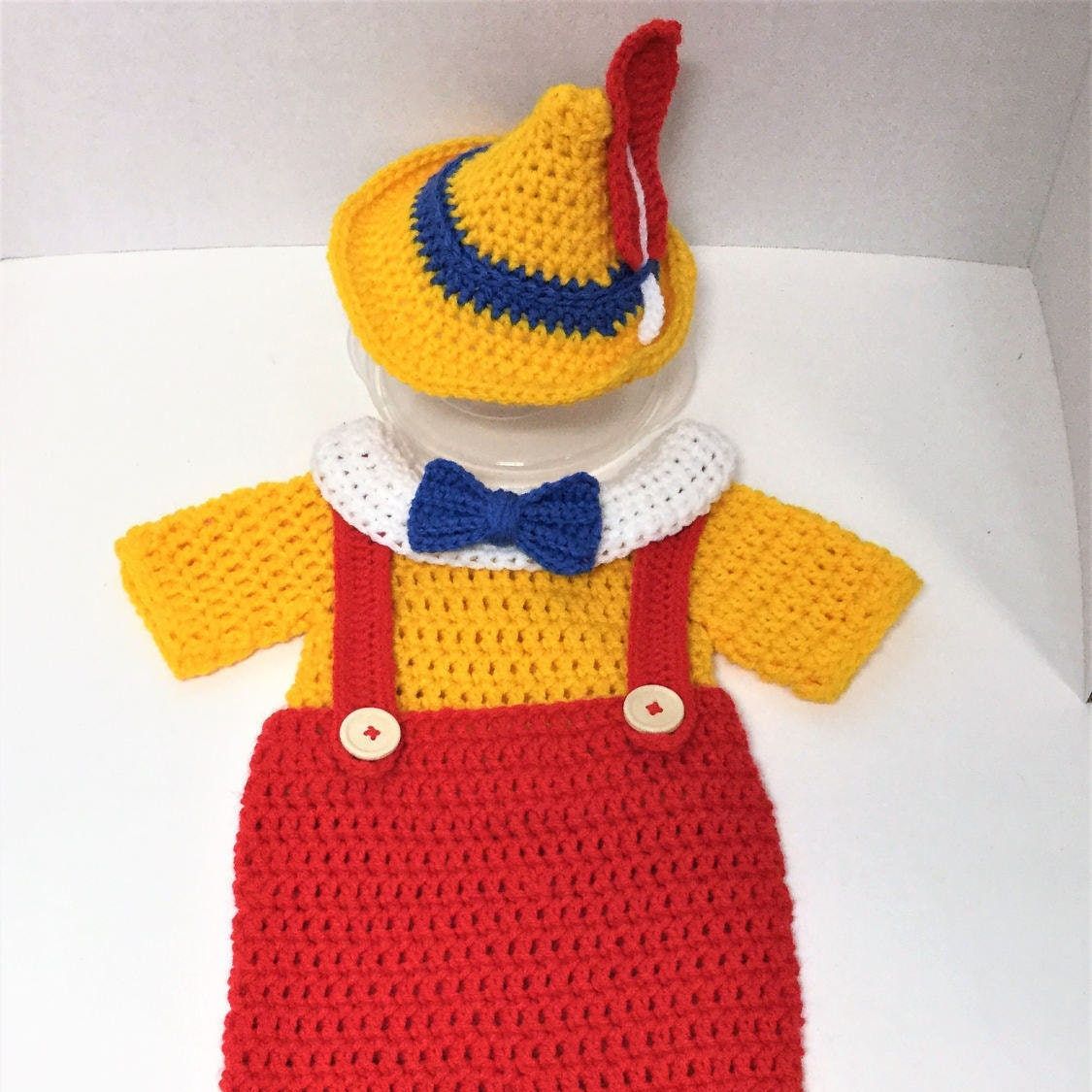 Crochet pattern pinocchio costume baby boy outfit diaper for Pinocchio hat template
