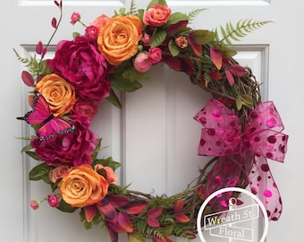 Pink Wreath, Rose Wreath, Butterfly Wreath, Summer Wreath, Wreath Street Floral, Grapevine Wreath, Front Door Wreath, Peony Wreath