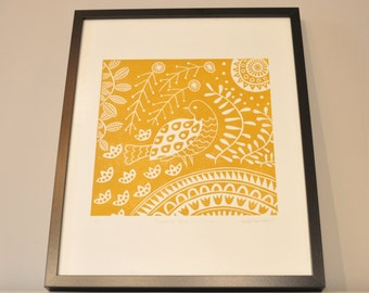 Florence Dove in ochre, limited edition linocut print