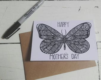 Butterfly Mothers Day Card - A6 Greetings Card - Henna Mehndi Art - Zentangle - Mandala - Happy Mother's Day