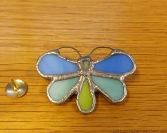 Vintage Heavy Stained Glass Effect Butterfly Brooch - Kitsch Chic Boho - Wildlife Planet Earth