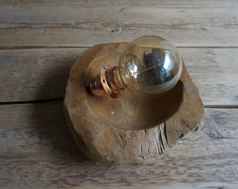 Teak industrial table lamp with brass fitting
